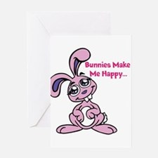 Bunnies Make me Happy Greeting Cards