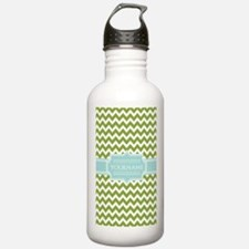 Chevron Monogram Green Water Bottle