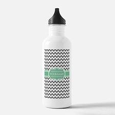 Grey White Chevron Gre Water Bottle