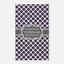 Monogrammed Purple Grey Quatrefoil Area Rug