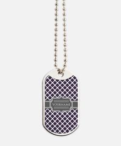 Monogrammed Purple Grey Quatrefoil Dog Tags