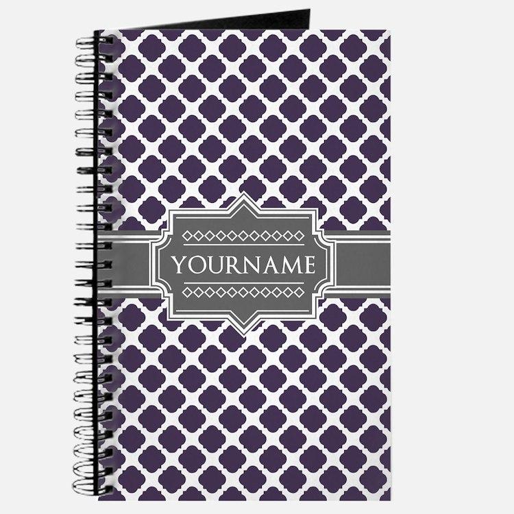Monogrammed Purple Grey Quatrefoil Journal