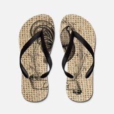 rustic french country rooster Flip Flops