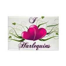 I heart harlequins (fancy) Magnets