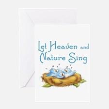 CHRISTMAS - LET HEAVEN AND NATURE S Greeting Cards