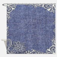 swirls western country blue denim Shower Curtain