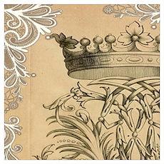 flourish swirls paris vintage crown Poster