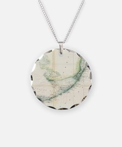 Vintage Map of The Florida K Necklace Circle Charm