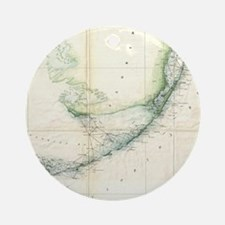 Vintage Map of The Florida Keys (18 Round Ornament