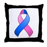 Blue and Pink Awareness Ribbon Throw Pillow
