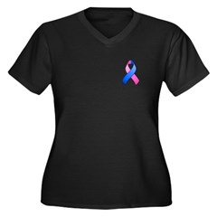 Blue and Pink Awareness Ribbon Women's Plus Size V