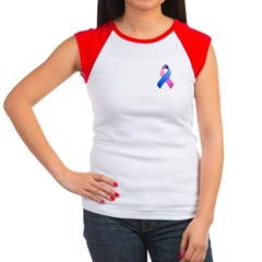 Blue and Pink Awareness Ribbon Women's Cap Sleeve