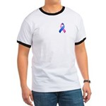 Blue and Pink Awareness Ribbon Ringer T