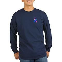 Blue and Pink Awareness Ribbon T