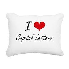 I love Capital Letters A Rectangular Canvas Pillow