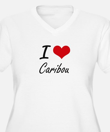 I love Caribou Artistic Design Plus Size T-Shirt