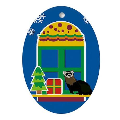 Ferret Christmas Oval Ornament