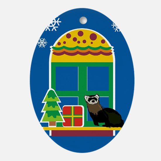 Ferret Christmas Oval Ornament