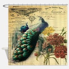french botanical vintage peacock Shower Curtain