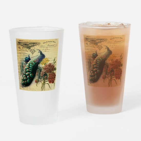 french botanical vintage peacock Drinking Glass