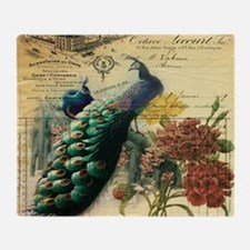 french botanical vintage peacock Throw Blanket
