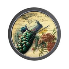 french botanical vintage peacock Wall Clock