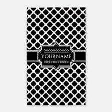 Personalized Quatrefoil in Black and Whit Area Rug