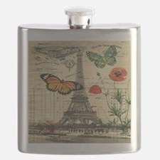 vintage paris eiffel tower Flask