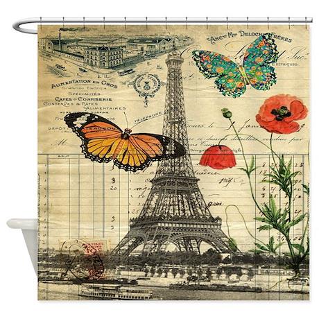 Vintage Paris Eiffel Tower Shower Curtain