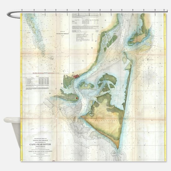 Vintage Map of Cape Fear (1857) Shower Curtain