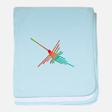 Colorful 3D Nazca Lines Hummingbird baby blanket