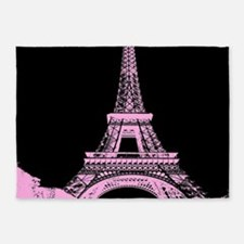 pink paris eiffel tower 5'x7'Area Rug