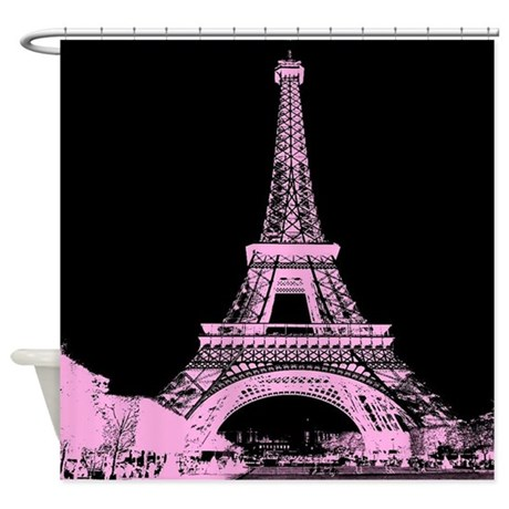 Pink Paris Eiffel Tower Shower Curtain By ADMIN CP62325139