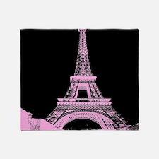 pink paris eiffel tower Throw Blanket