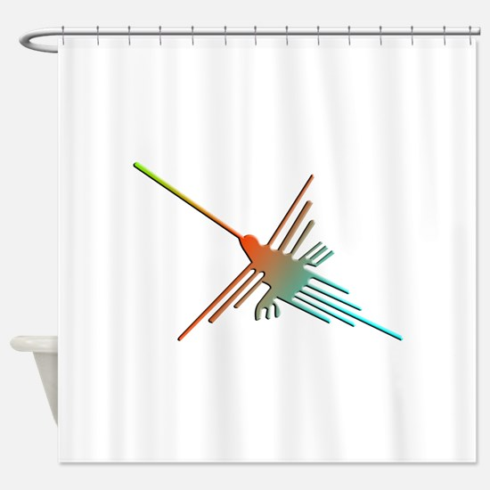 Colorful 3D Nazca Lines Hummingbird Shower Curtain