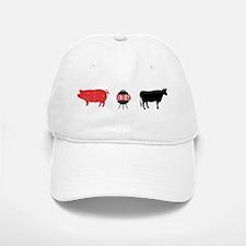 BBQ with Cow and Pig Baseball Baseball Cap