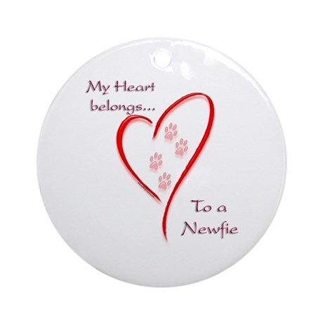 Newfie Heart Ornament (Round)
