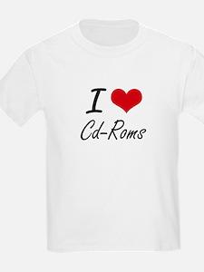 I love Cd-Roms Artistic Design T-Shirt