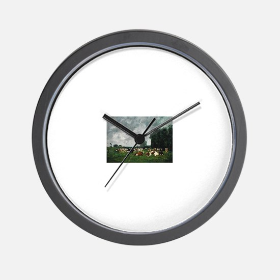 Eugene Boudin - Fields in Fervaques (Pa Wall Clock