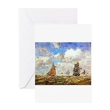 Eugene Boudin - High seas Greeting Cards