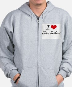 I love Chain Smokers Artistic Design Zip Hoodie
