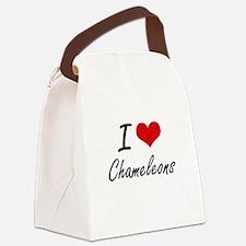 I love Chameleons Artistic Design Canvas Lunch Bag