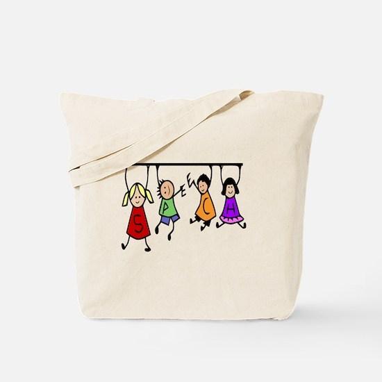 Cute Kids Cartoon Holding Speech Words Tote Bag