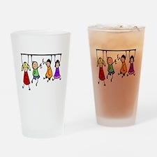 Cute Kids Cartoon Holding Speech Words Drinking Gl