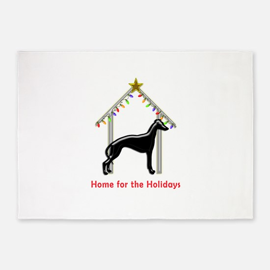 Forever Home for Greyhounds Christm 5'x7'Area Rug