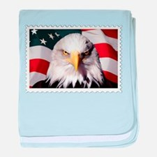 American Bald Eagle with Flag baby blanket