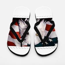 American Bald Eagle with Flag Flip Flops