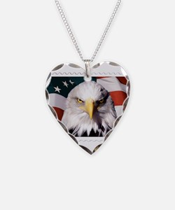 American Bald Eagle with Flag Necklace