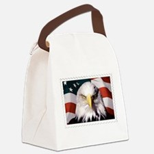 American Bald Eagle with Flag Canvas Lunch Bag