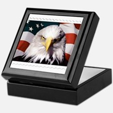 American Bald Eagle with Flag Keepsake Box